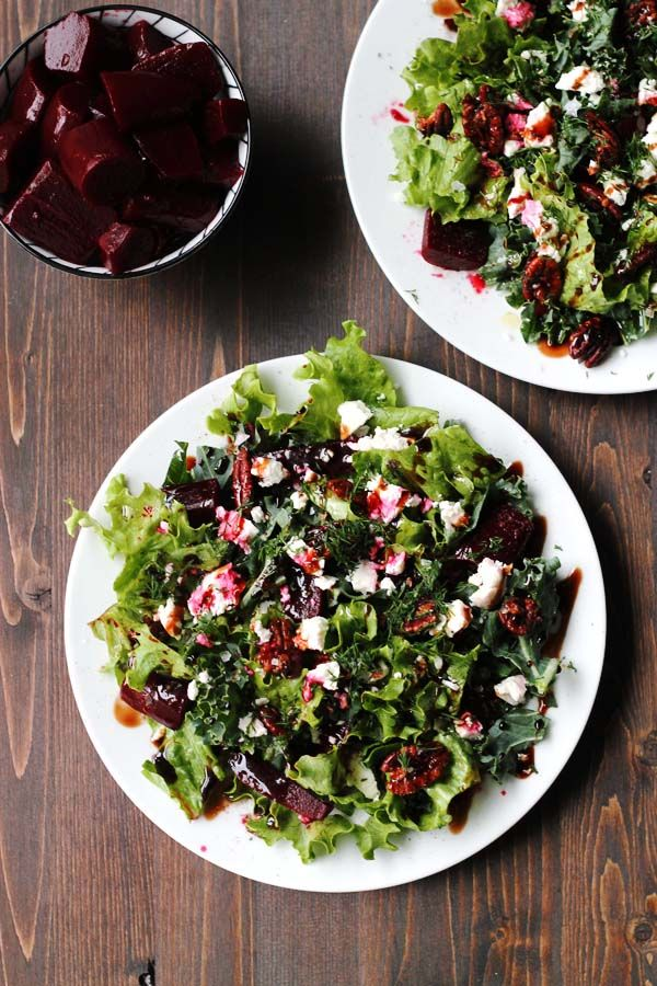 Pickled Beet and Goat Cheese Salad with Maple Roasted Pecans | http://cookswithcocktails.com/pickled-beet-and-goat-cheese-salad-with-maple-roasted-pecans/