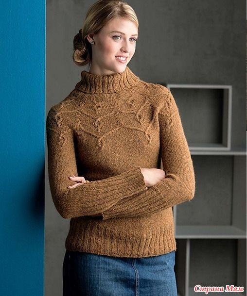 Здравствуйте, Страномамочки!!! Утепляюсь на зимние холода понравился вот такой пуловер  решила попробовать из Кауни и вот он... результат