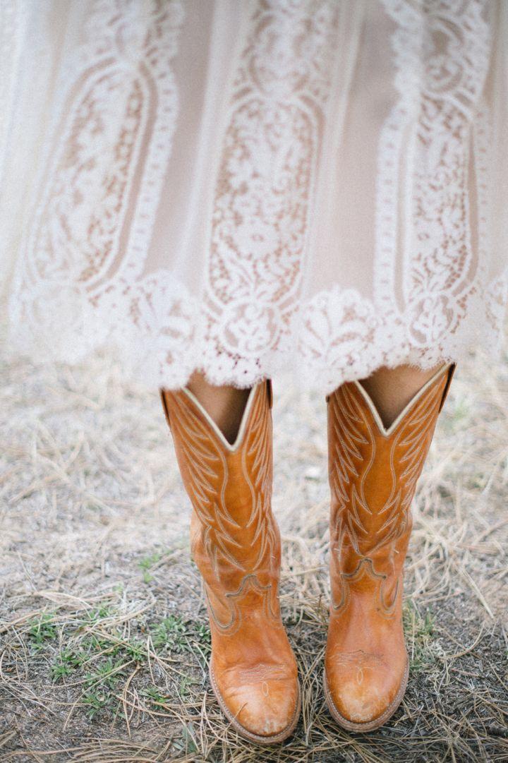 Bride wears southern style boots | fabmood.com #wedding #rusticwedding #weddingstyle #ido #weddinginspiration