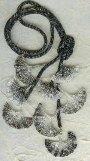 Black and White Gingko 021. Love it. Took this class from Diane Fitzgerald in 1998 in Santa Fe. She is an excellent teacher. I knew nothing of seed beading, yet with her great teaching skills I walked out with Ginko leaves and a love of seed beads. by marilyn