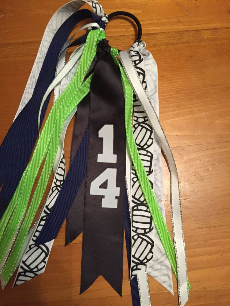 Custom Sport Hair Ribbons Lime Green and Blue, Personalized Ribbons, Sport Hair Bows, Volleyball Ribbons, Softball Ribbons, Sport accessory by SunshineandBling on Etsy
