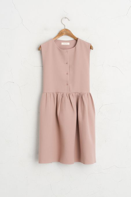 Button Down Sleeveless Dress, Pink, 60% Polyester, 37% Viscose, 3% Elastane