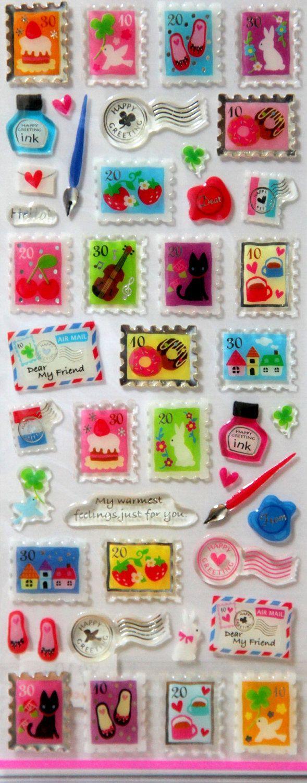 Kawaii stamps   Japanese stickers. $4,50, via Etsy.