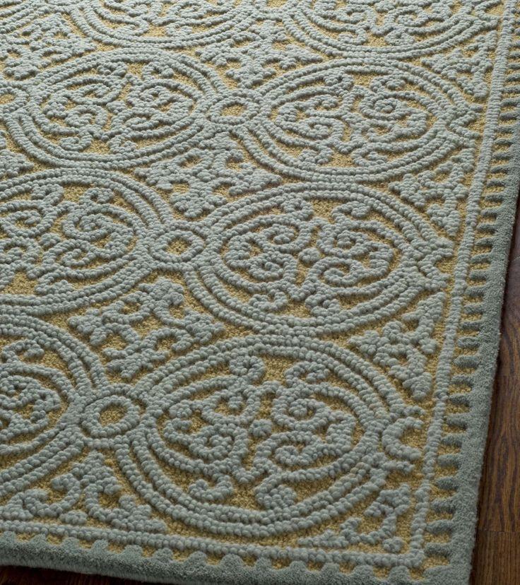 rugstudio presents safavieh cambridge cam234a blue gold hand tufted better quality area rug. Black Bedroom Furniture Sets. Home Design Ideas