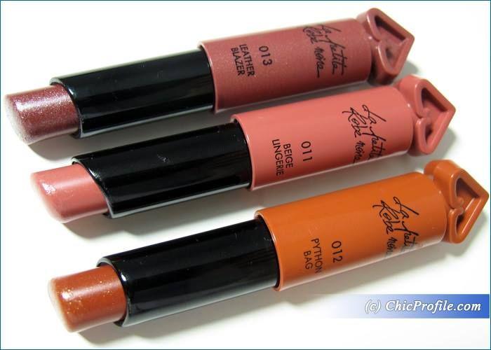 Guerlain La Petite Robe Noire Lipsticks Beige Lingerie, Phython Bag, Leather Blazer Review, Swatches, Photos