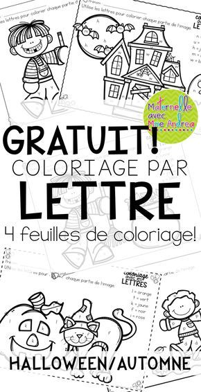 FREE French Fall/Halloween colour by letter worksheets