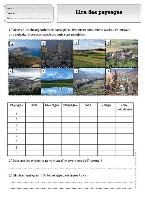 Lire des paysages différents - Paysages – Ce1 – Exercices – Espace temps – Cycle 2 - Pass Education