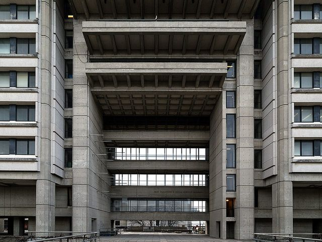 """seanclaudemonet: """" 20141207. The entrance to York University's colossal brutalist Ross Humanities and Social Sciences Building in Toronto. by Vik Pahwa Photography on Flickr. """""""