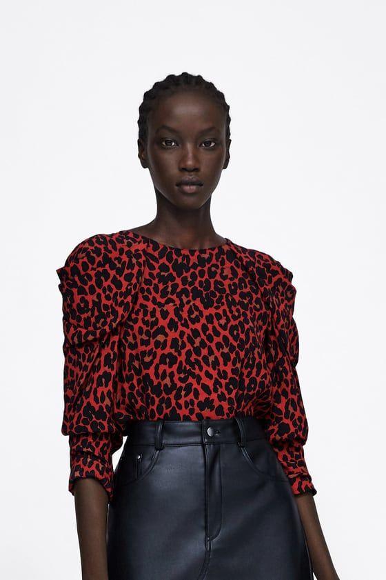 e846c540b571 BLUSA ESTAMPADO ANIMAL DRAPEADO | ZARA | Animal print blouse, Zara ...