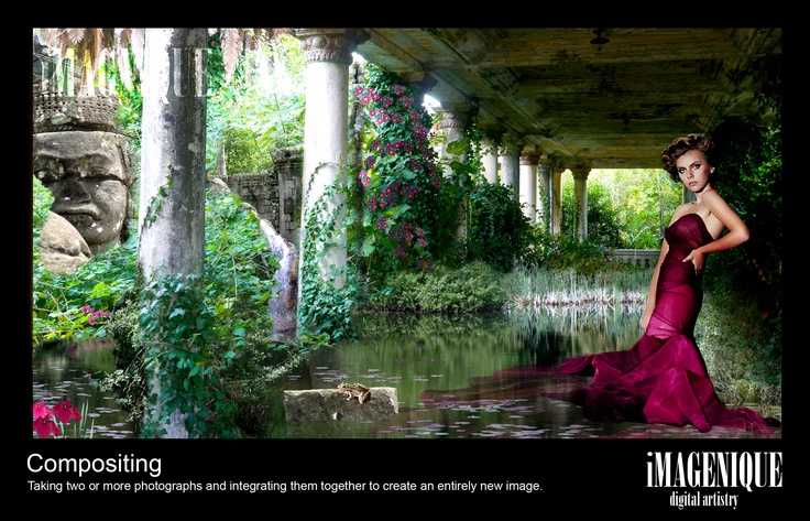 DIGITAL COMPOSITING  integrating two or more photos together to create an entirely new image.