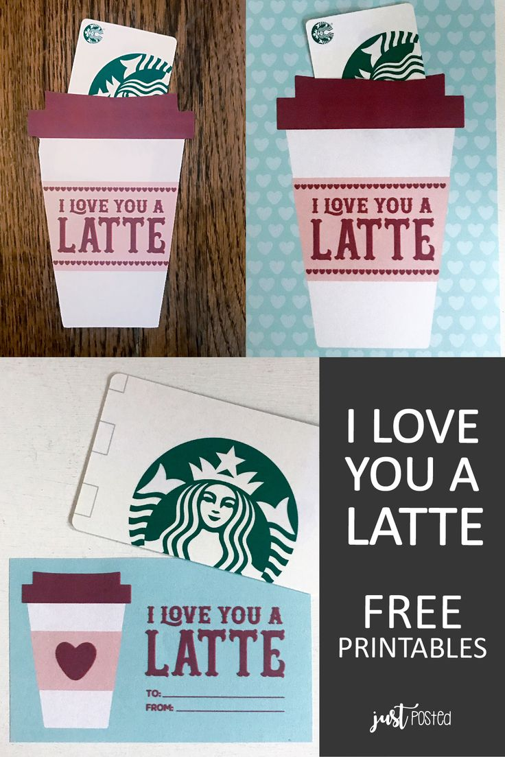 Free printable for starbucks gift card i love you a