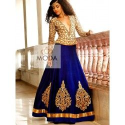 Beige and blue contemporary indo western lehenga choli for trendsetting bride