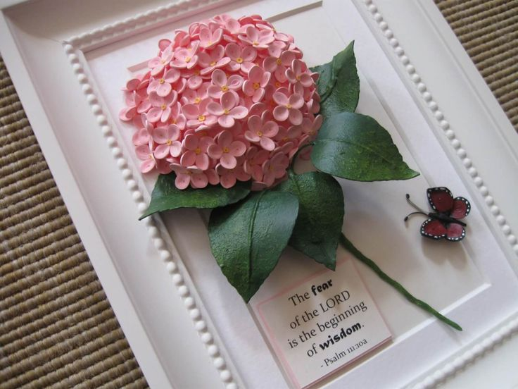 Quilled hydrangea and butterfly (on a frame of aprox. 17.5×22.5 cm)