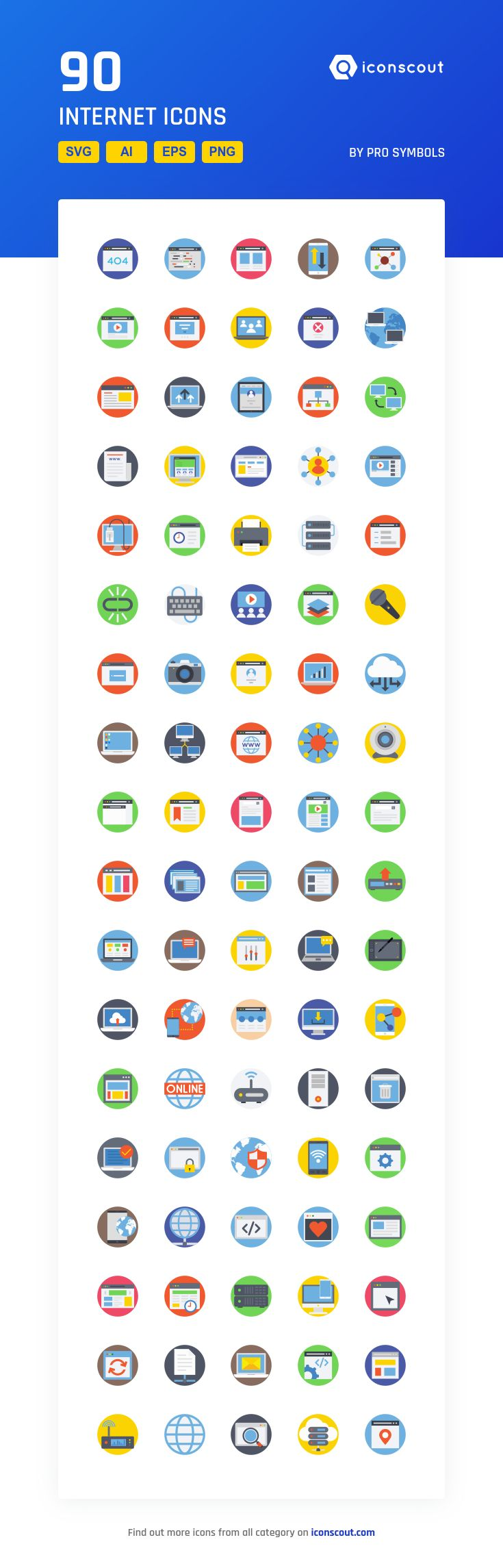 Internet  Icon Pack - 90 Flat Icons