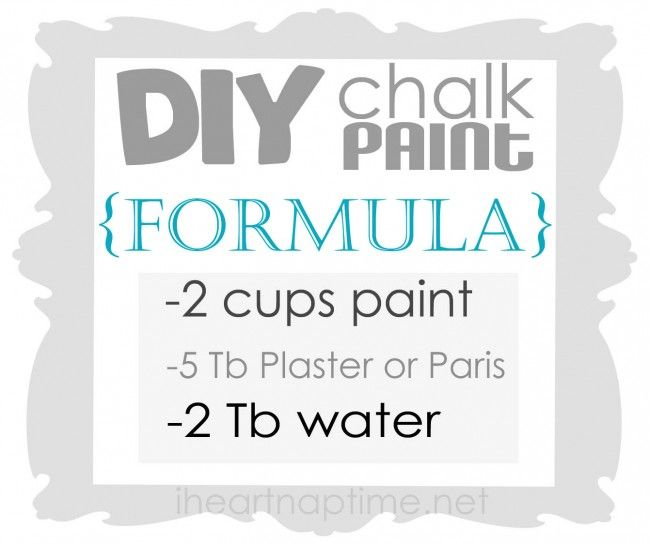 make your own chalk paint.  The formula should read 4 Tblspn of plaster of paris (not 5).