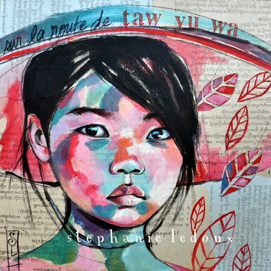 On the road Taw Wa Yu - Burma (2012) | Acrylic collage from Stephanie Ledoux's travels in Burma.