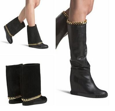 Ucuz Sıcak satış siyah deri yüksekliği artan kadın çizmeler yuvarlak ayak diz yüksek çizmeler 2016 kış altın zincirleri kama çizmeler, Satın Kalite bayan botları doğrudan Çin Tedarikçilerden: mağazamıza Weclome!!! yeni sıcak olsun biz size yardımcı olabilirsatış bayanlar yüksek topukluayakkabı, çizme, sandal