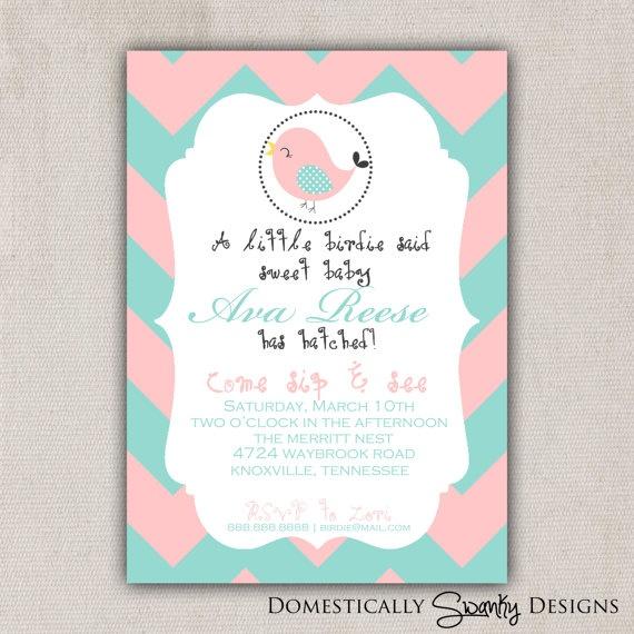 Little Birdie Peach & Aqua Baby Shower by domesticallyswanky, $8.00