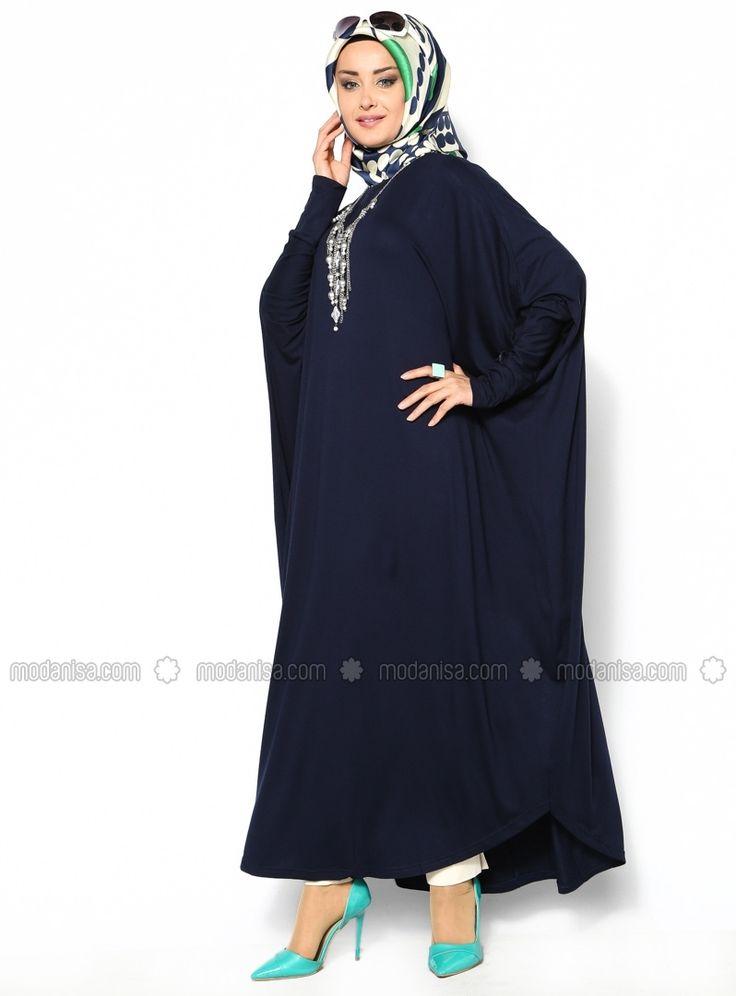 Robe De Manches Chauve-Souris - Bleu Marine - Eflatun