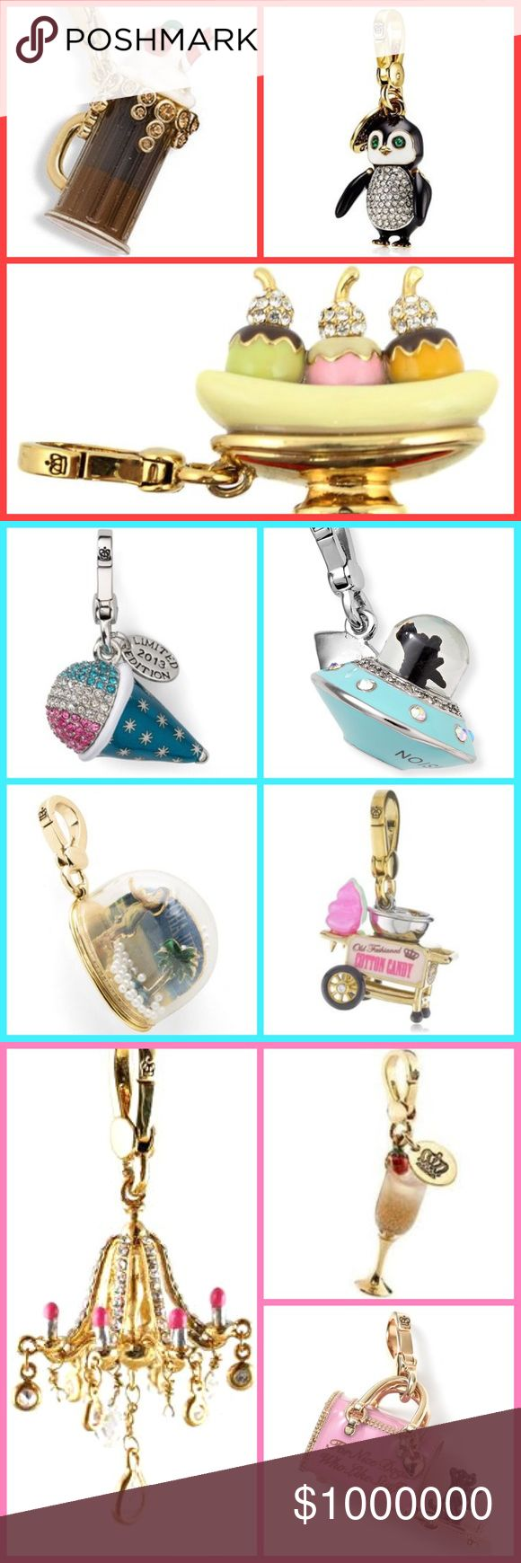 ISO JUICY COUTURE CHARMS I am Looking for these juicy charms to buy for myself: hot air balloon pancakes popsicle margarita coconut drink mojito lemon Rootbeer root beer float penguin butterfly corset banana split sno cone UFO puppy Hawaii snow globe cotton candy maker machine lipstick chandelier champagne glass strawberry pink Yorkie dog carrier bag(please make sure the words are not scratched off at all) ballerina ballet slippers shoes bird bath bonsai tree jewelry music box flamingo…