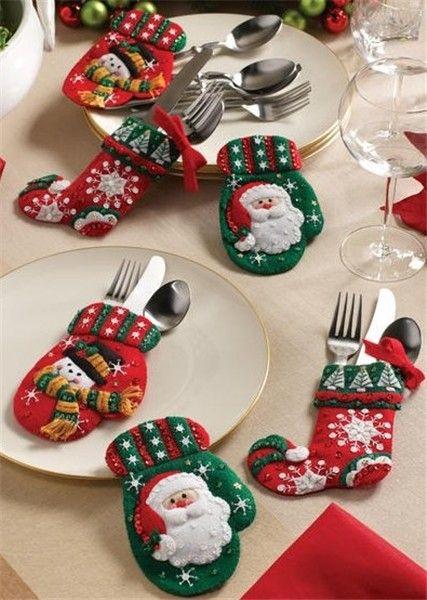 2013 fun Christmas cutlery decor,creative Christmas cutlery stockings and gloves holder decor idea, table decor for Christmas Dinner