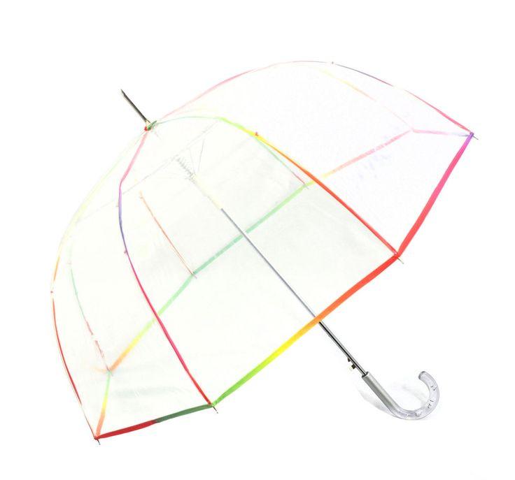 Regenschirm transparent durchsichtig Automatik Glockenschirm Regenbogen neu | eBay
