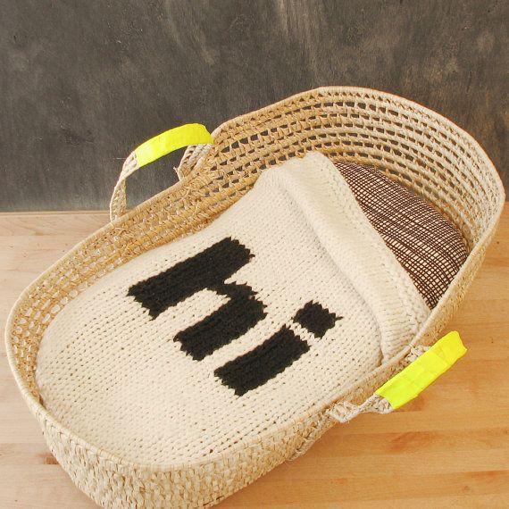 "knitted ""hi"" baby blanket..."