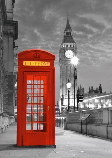 Puzzle cabina de Londres blanco, negro y rojo en 1000 piezas