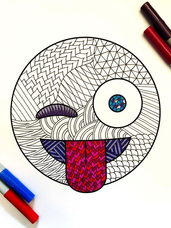Tongue Out And Winking Emoji Pdf Zentangle Coloring Page Emoji