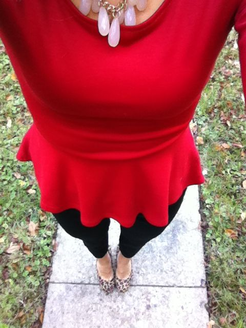 Red peplum shirt, cheetah pumps, heels, job interview, fashion, valentine's day outfit. You could even rock this to the office.