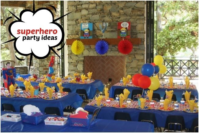 Superhero Themed Birthday Party for 4 Year Old Boys via @spaceshipslb