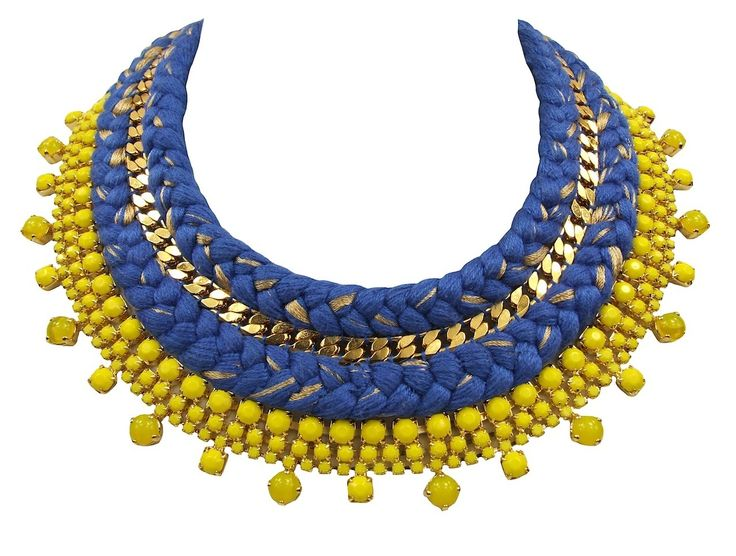 Turin Luxe necklace cobalt blue gold-plated - Jolita Jewellery #necklace #braided #silk #crystals #gold #luxury #glamour #handmade #statementnecklace #collar #jolita #jolitajewellery