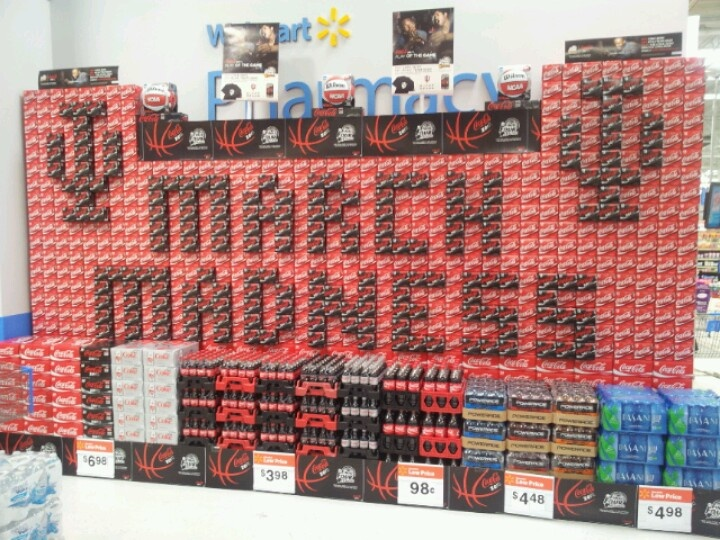 coca cola march madness display at walmart in martinsville in supermarket displays. Black Bedroom Furniture Sets. Home Design Ideas