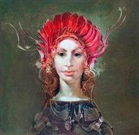 Ifjú hölgy vörös kalapban by Endre Szasz