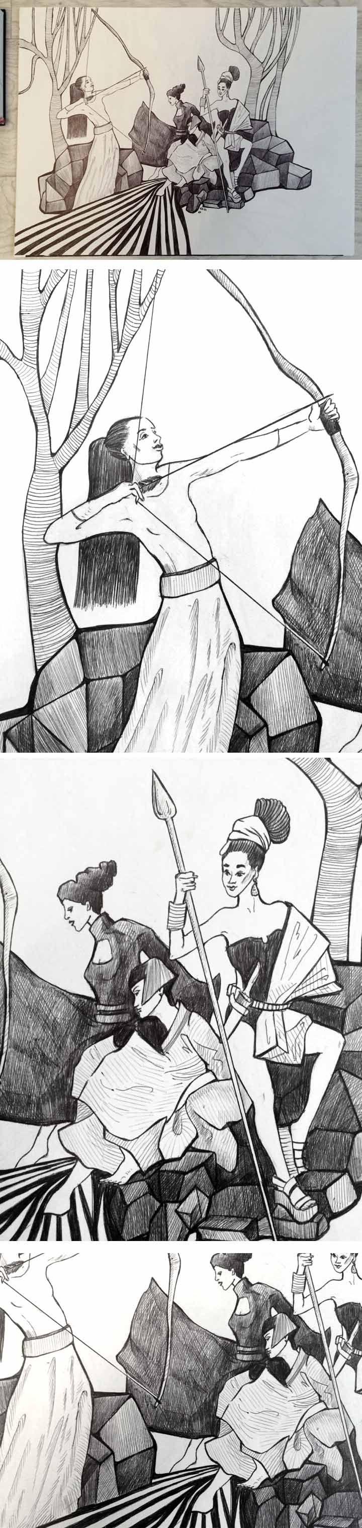 Графика на тему Подвиги Геракла. Девятый подвиг. Геракл завоёвывает пояс Ипполиты.  The graphics on the theme of The Labours of Hercules . Ninth feat. Hercules wins the belt Hippolyta . #graphic #arts #drawing #idea #amazon #human #girl  #weapon #myth  #fairytale #history  feat