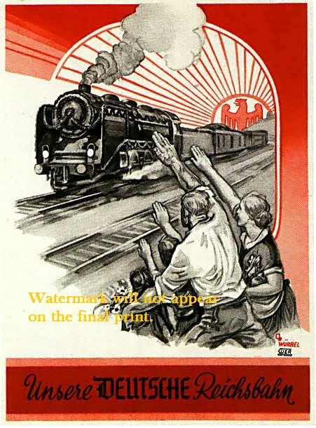 WWII, 1939-1945 - Issued by the German Ministry of Propaganda, this poster was meant to glorify the German Railway Service - the Reichsbahn.