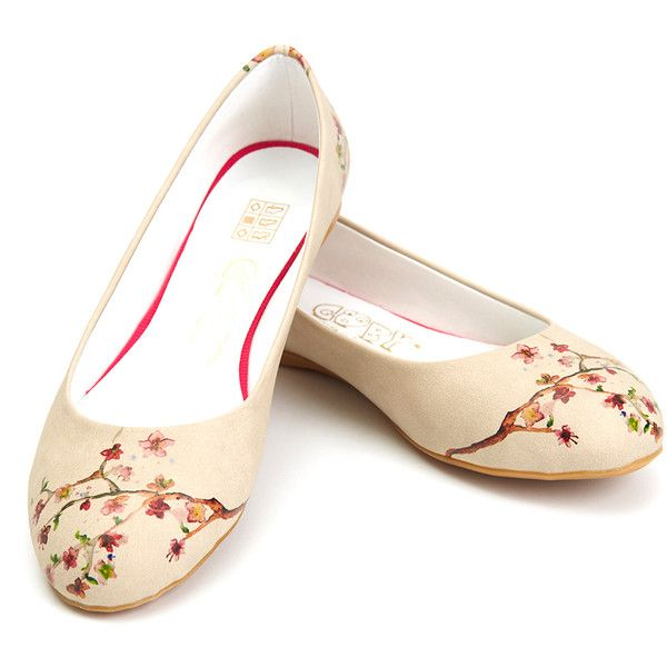 Goby Cream & Pink Cherry Blossom Ballet Flat ($40) ❤ liked on Polyvore featuring shoes, flats, plus size, ballerina flat shoes, cream ballet flats, cream flats, ballet pumps and pink ballet flats