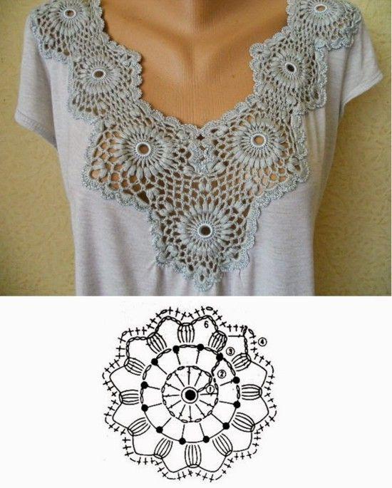 cd4bc454c Camiseta customizada com crochê - Ideias de customização de camiseta com  crochê  moda  crochê  camiseta  customizando