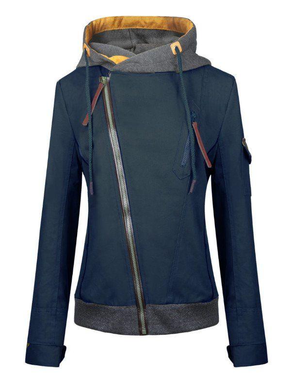 Diagonal Zip Up Front Hood Jacket - FIREVOGUE