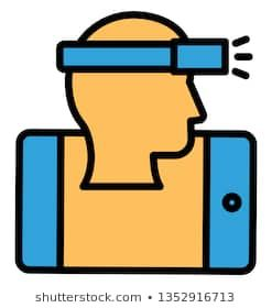 Head mounted display Isolated Vector icon which can easily modify or edit  #adult, #black, #cartoon, #character, #concept,