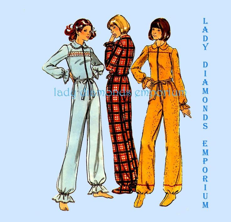 Butterick  4408 Womens Footed Pajamas 1-Piece Zip-Up Dropped Seat Longjohns size 12 Bust 34 Vintage 70's Sewing Pattern Uncut FF by ladydiamond46 on Etsy