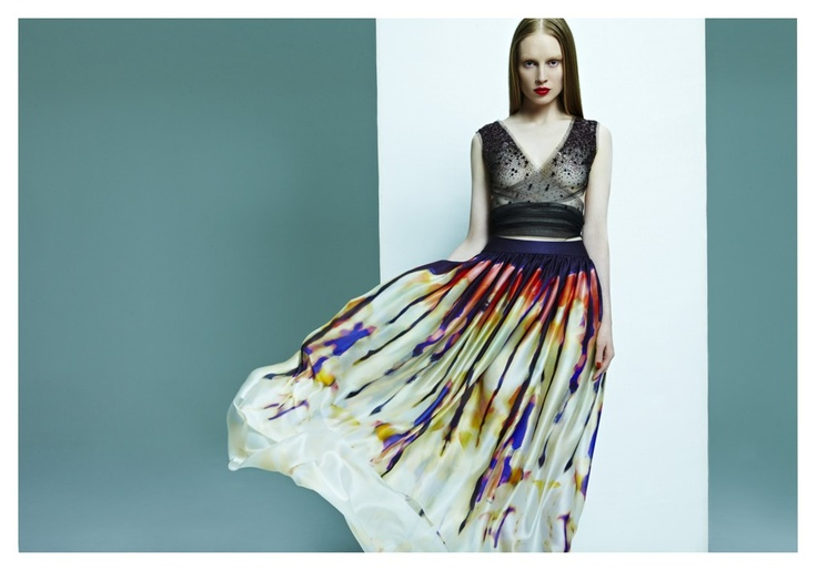 Swarovski embroidered purple top with print mousseline skirt