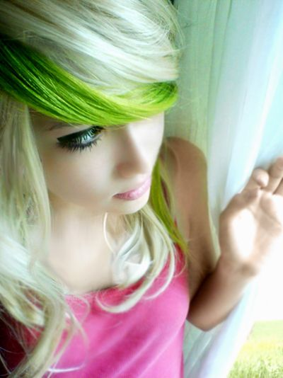 Blonde and Green Hair