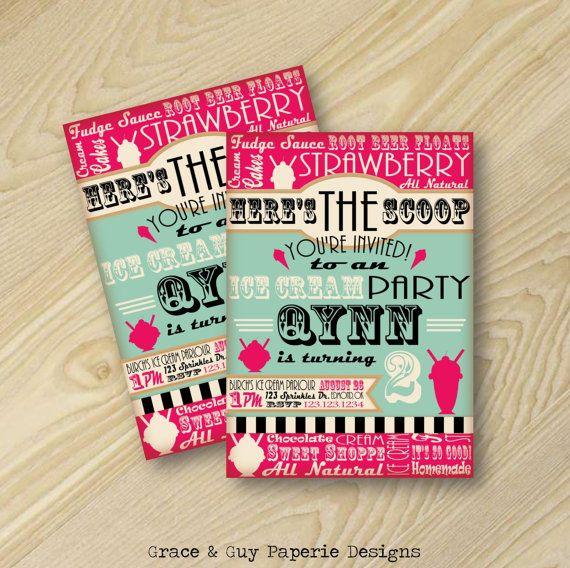 Ice Cream Party - Printable Birthday Invitation - Ice Cream Birthday Party Printables on Etsy, $13.75