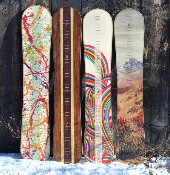 Snowboard Wall Decor / Wooden Wall Art / Snowboard Growth Chart With NO Height Chart Marks