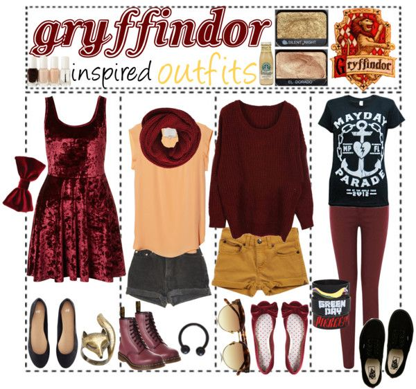 """""""Gryffindor Inspired Outfits"""" by outofthisworld-tips ❤ liked on Polyvore"""