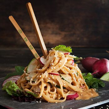 "Isa Does It -- Dragon Noodle Salad - ""Peanutty, sesame-y, spicy and loaded with crisp-y radishes and cucumbers."""