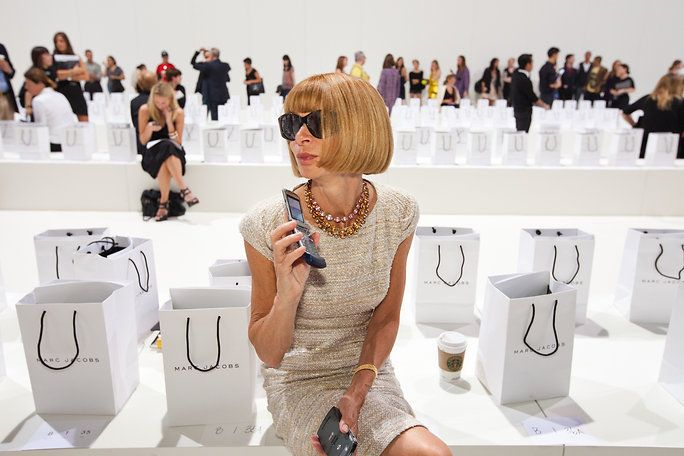 Anna Wintour awaits the show