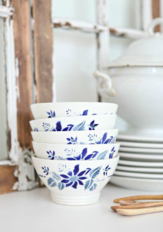 Vintage French Café au Lait Bowls Blue Floral