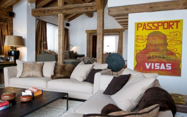 Architectures Iconic Wall Art From Advertisement Style Studded Near White Painted Chalet Dent Blanche Living Room Among Woods Majestic Rustic Wooden Design in Verbier